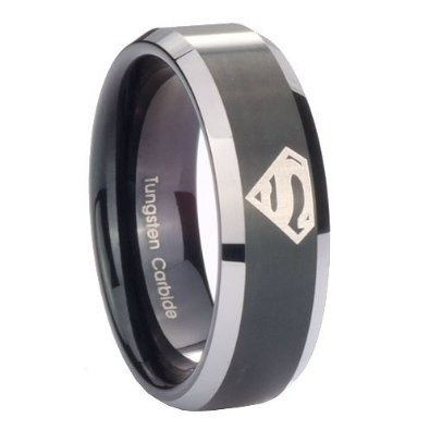 Tungsten Carbide Superman Black Two Tone Engraved Ring Size 4 to 14, 5MM, 8MM, 10MM ( men 10mm Size 12 ): Jewelry: Amazon.com