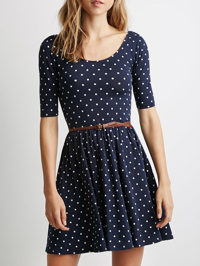 With Belt Polka Dot Dress