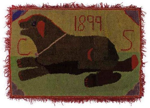 A Cotton And Wool Dog Hooked Rug Illust Pinterest