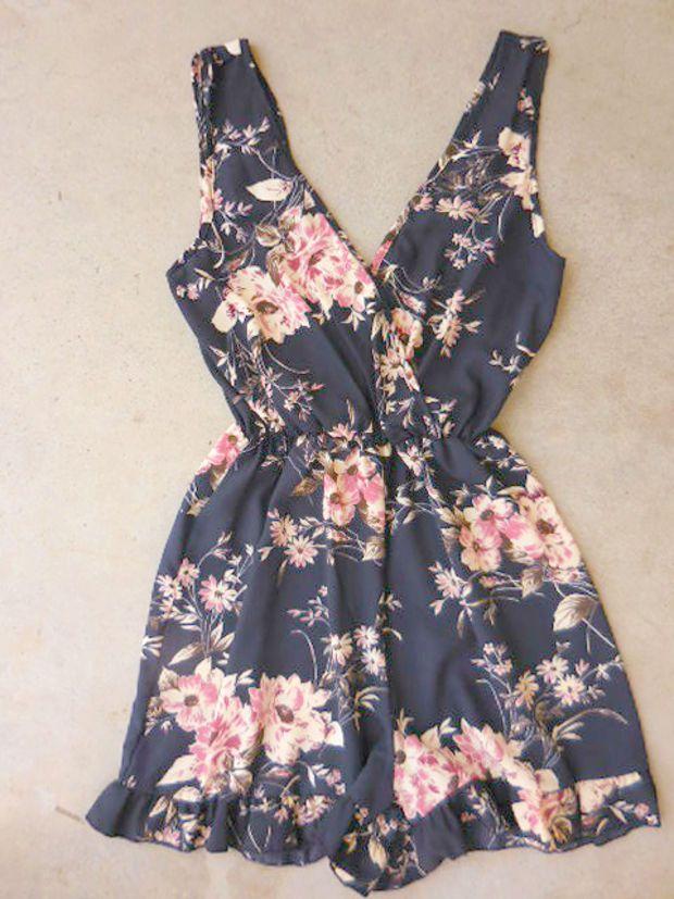Odila Romper in Navy [6954] - $36.00 : Feminine, Bohemian, & Vintage Inspired Clothing at Affordable Prices, deloom