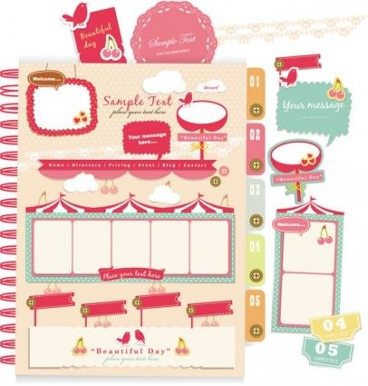 beautiful pink stickers elements 04 vector