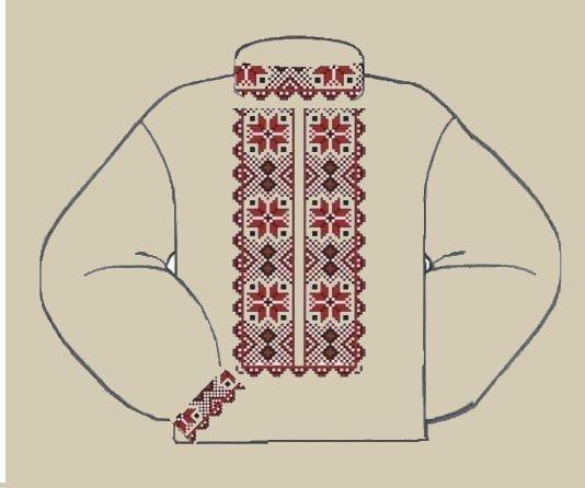 Льняная серая детская вышиванка ВМаЛ-001С
