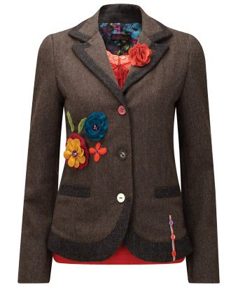 Amazing Applique Jacket - Inspired by a recent trip to the vintage markets in New York. This jacket has appliqued flowers and a detachable corsage (not to mention the funky lining) which sets it apart from all other jackets you may come across this autumn - a really special piece. £59.95