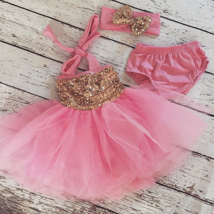 "The ""Gia"" Pink Gold Birthday Infant Toddler Dress + Headband Set"