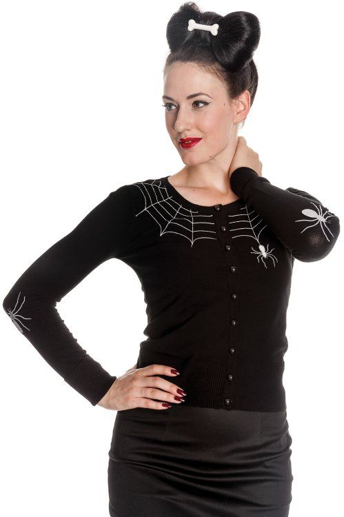 Spider Cardigan features embroidered white spiders and webs on the elbows and along the neckline. It is a fitted soft touch knitted cardigan with an elegant rounded neckline and black buttons down the centre front.