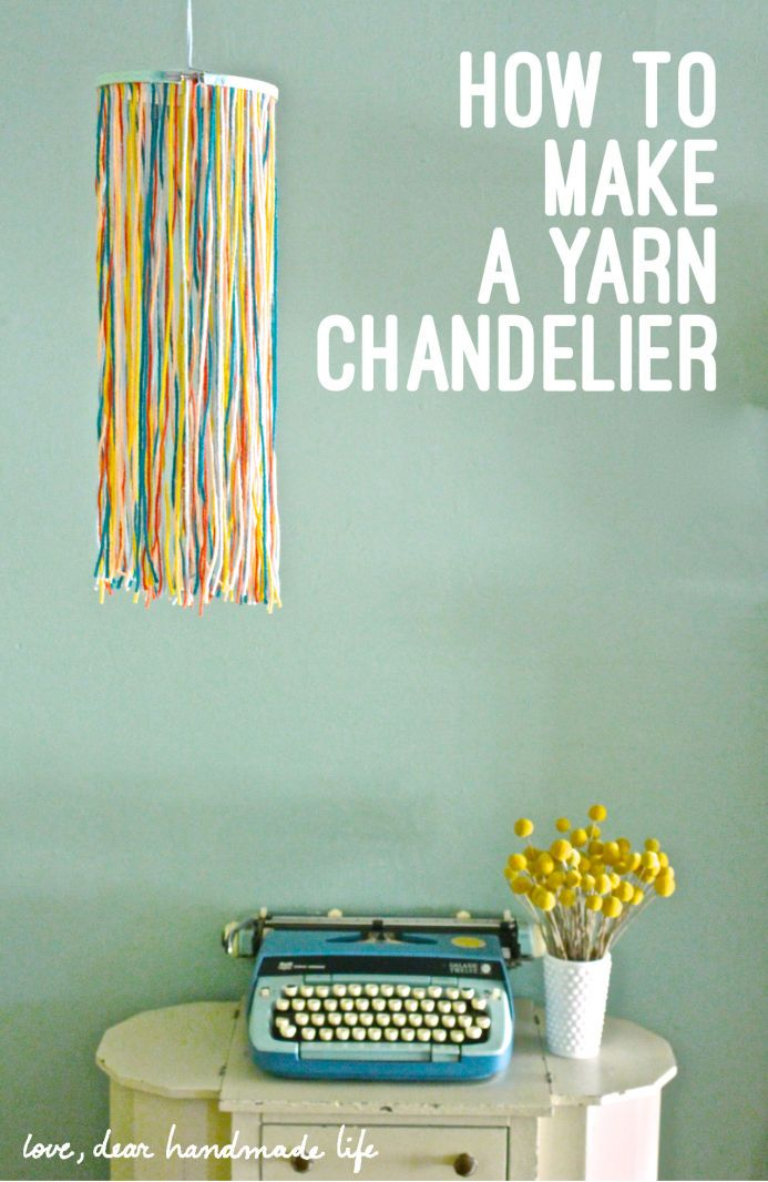 How to Make a Yarn and Embroidery Hoop Chandelier from Dear Handmade Life