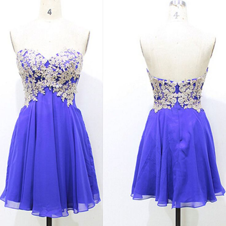 Elaborate Royal Blue Homecoming Dresses Sweetheart Neckline Beaded Lace Appliques Mini Length Party Gowns New Arrival