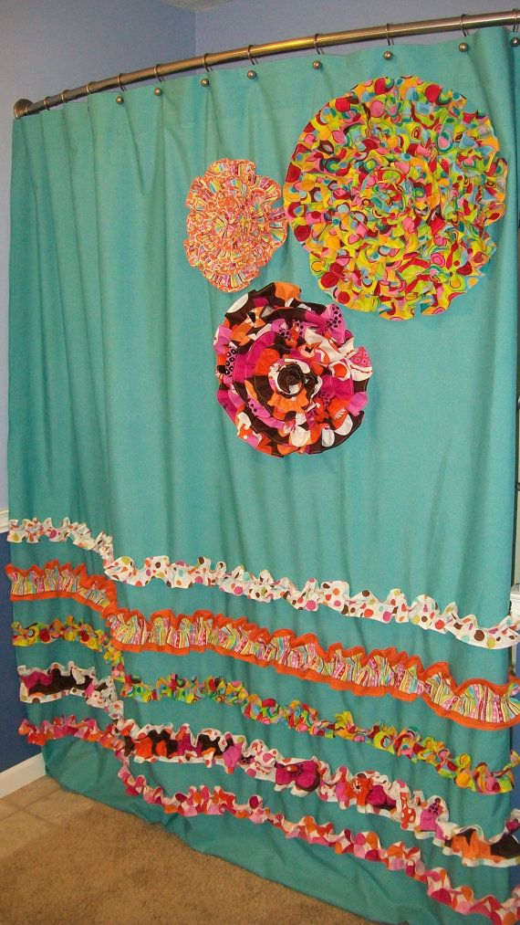 Shower Curtain Custom Made Designer Fabric Ruffles Flowers Aqua Teal Turquise Pink Orange
