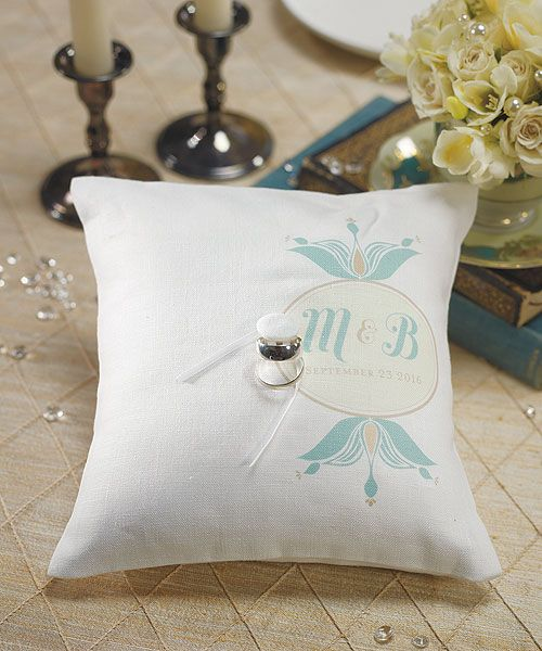 """""""Notable"""" Personalized Ring Pillow with Double Floral Monogram"""