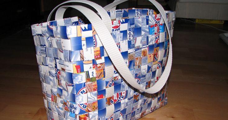 How to Make  Milk Carton Bag  woven bag reuse repurpose   juice box carton tetrapak   craft from trash