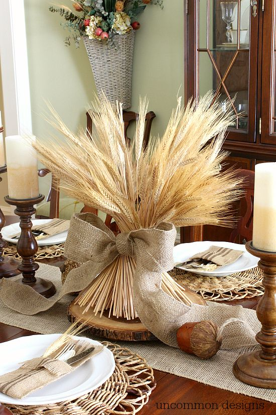 Fall wheat centerpiece with burlap ribbon via Uncommon Designs #FindingFallHomeTour
