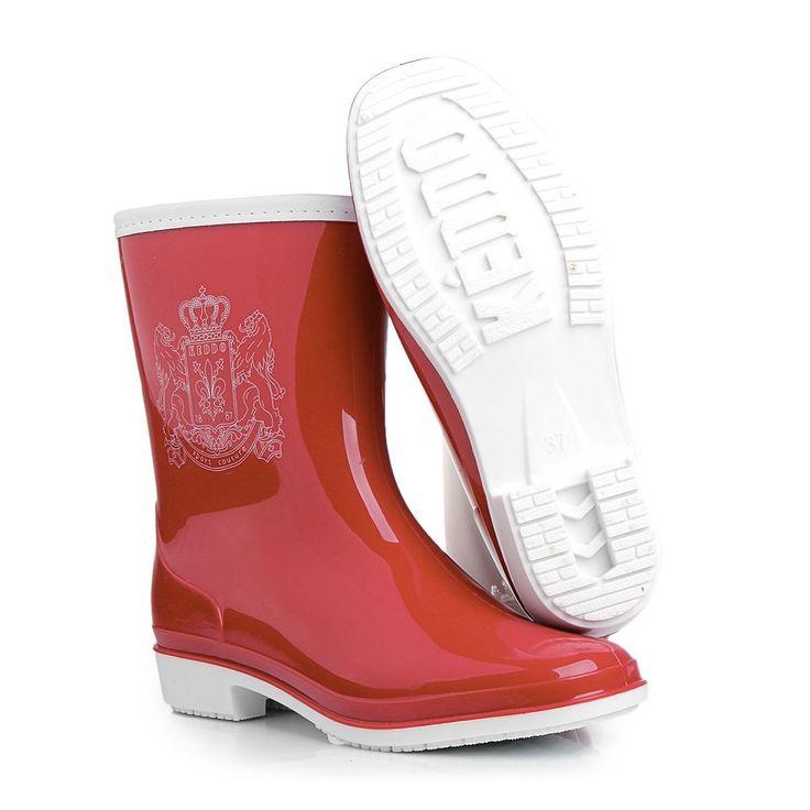 красные белые женские резиновые сапоги keddo из пвх 328576/101#07