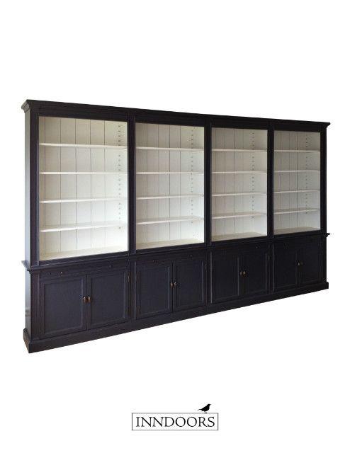 landelijke boekenkast 4 meter breed maatwerk inndoors inndoors boekenkasten collectie inndoors