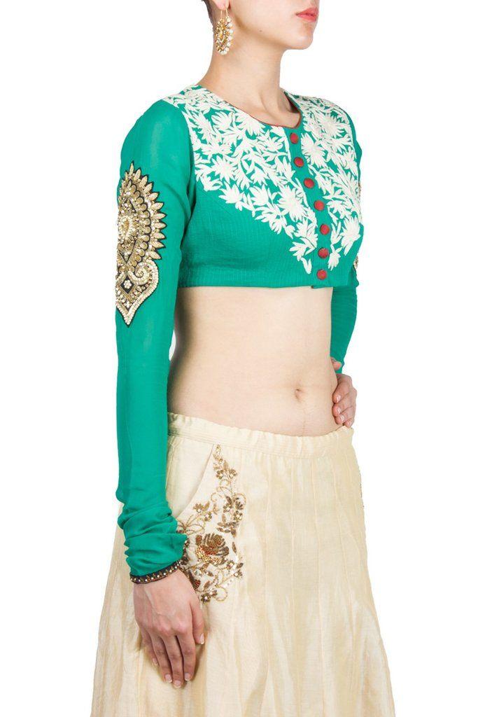 Sea Green Colour blouse in gorgette fabric