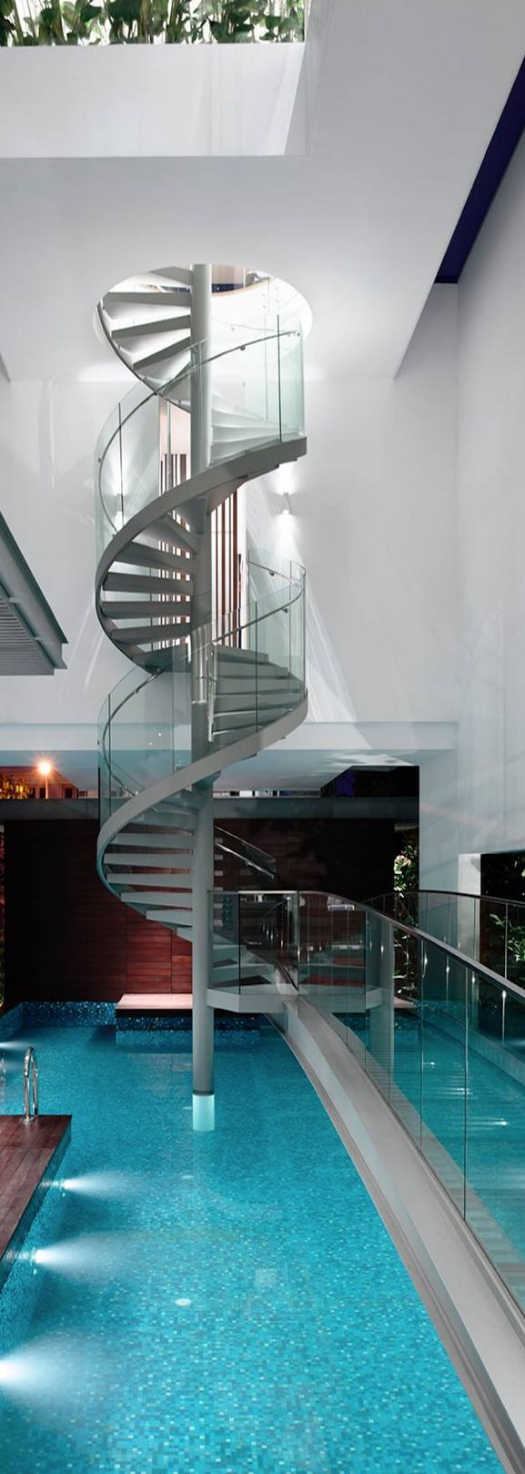 HYLA Architects. Glass accented spiral staircase.  Luxuryprivatelistings.com #architecture #pools #design