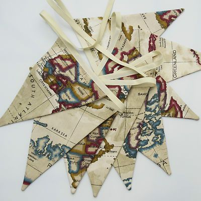 atlas world map style fabric bunting long beige 9 double sided flags