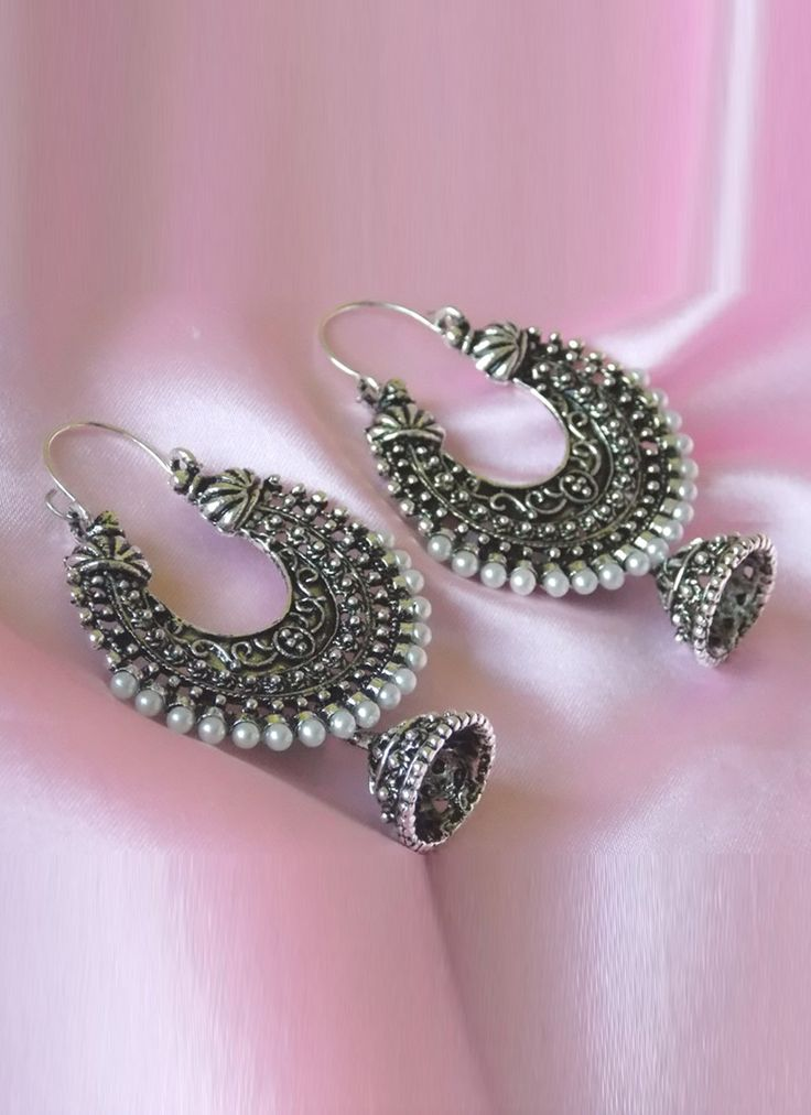 Pleasing Black N Off White Jhumkas