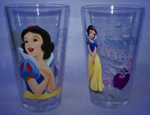 Two Disney Princess Glasses - Snow White 16oz Glass Tumblers by The Zrike Company, Inc.. $21.99. Perfect for all Disney Princess Lovers!. Disney 16oz Glass Tumblers. 2 Glasses with 2 different Snow White poses.. Snow White. This set includes two 16oz glass tumblers featuring Snow White from the Disney Princesses.  It contains two different Snow White poses on the glasses.  Would make a perfect gift!! These glasses are not recommended for dishwasher use.