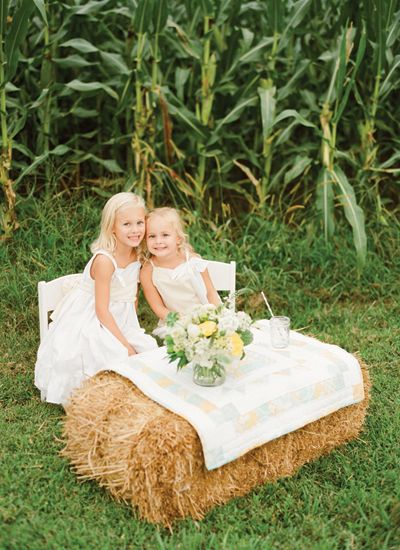 hay bale table for the littles | KT Merry #wedding