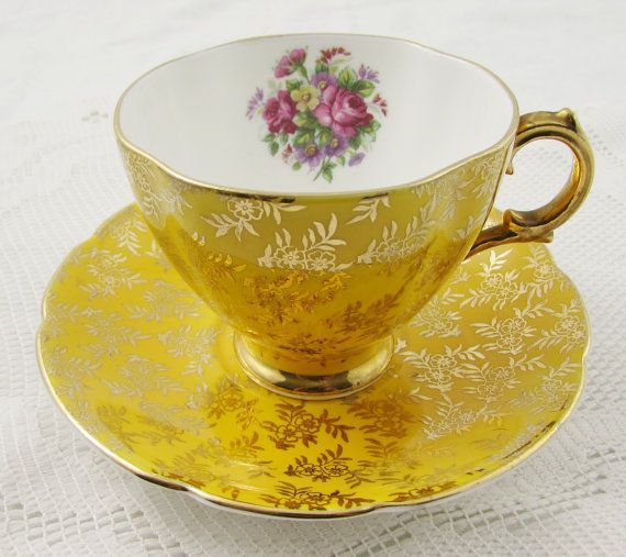 Royal Stuart Yellow Tea Cup and Saucer with Gold Chintz and Flowers, Vintage Bone China