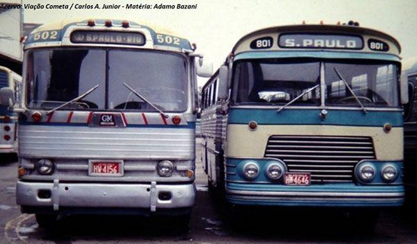 Ciferal Papo Amarelo (prefixo 801) ao lado de GMDP 4104 (prefixo 502). Após a descontinuidade da importação de ônibus norte-americanos, Cometa buscou no mercado nacional modelos diferenciados. Foto: Acervo Viação Cometa.