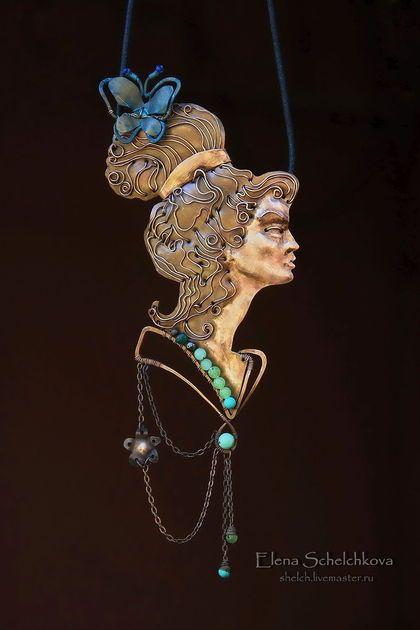Колье Фея Весеннего Леса в стиле Ар Нуво (подвеска из меди, кулон). Handmade. #wirewrap