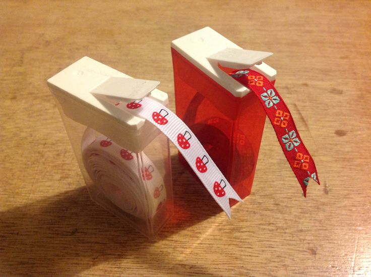 Craft storage idea for ribbons. Use old tic tac boxes.