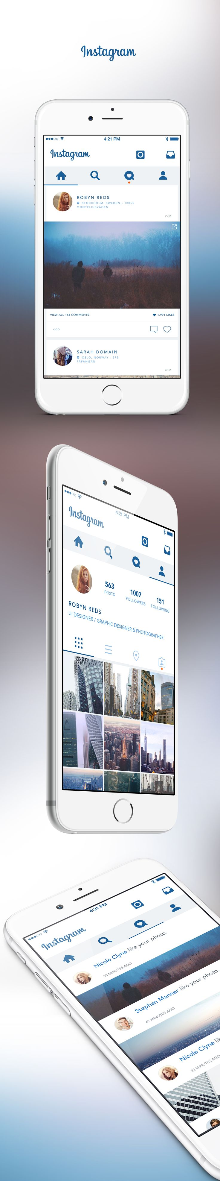 A redesign of Instagram App, created by simplifying the elements, making the user interface more clear and elegant, thanks to a better use of space and the white. The action bar is moved to top to ensure a better navigation of content.Hope you like and …