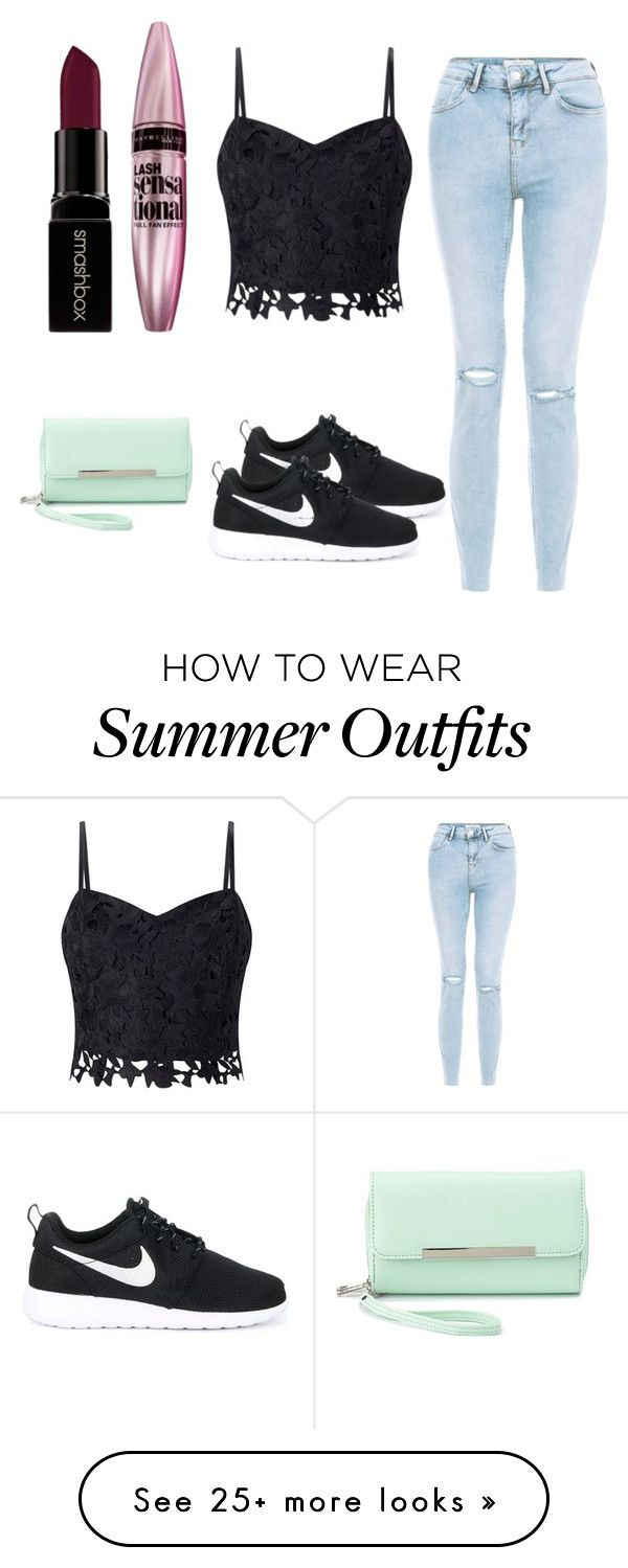 """casual summer outfit"" by sarahkenyon on Polyvore featuring Lipsy, Smashbox, Maybelline, NIKE and Charlotte Russe"