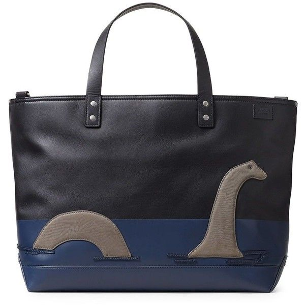 Jack Spade Men's Loch Ness Leather Coal Bag ($648) ❤ liked on Polyvore featuring men's fashion, men's bags, black, mens bag, mens leather bag and jack spade mens bag