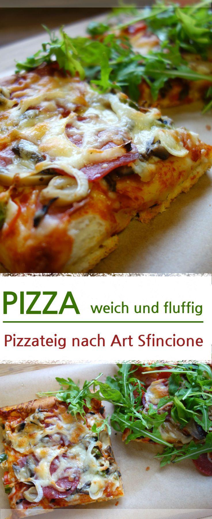 Leckere Pizza mit weichen und fluffigen Pizzaboden. Belegt mit Käse, Schinken, Salami, Käse, Frühlingszwiebeln, Tomaten und Rucola. Nur einige Ideen wie du den Pizzaboden selbst belegen kannst. Das Rezept für den Pizzateig, wird komplett selber gemacht. Ideal als Familienessen oder für Kindergeburtstage. – Meine Stube #pizza #pizzaboden #pizzateig