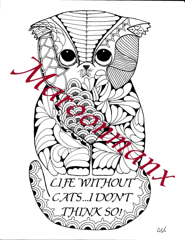 life without cats i dont think so adult coloring page digital download printable