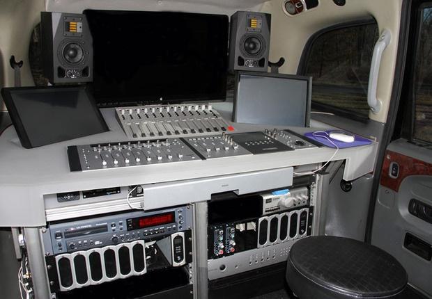Interior of mobile recording studio - London Taxi Cab. Gorgeous!!