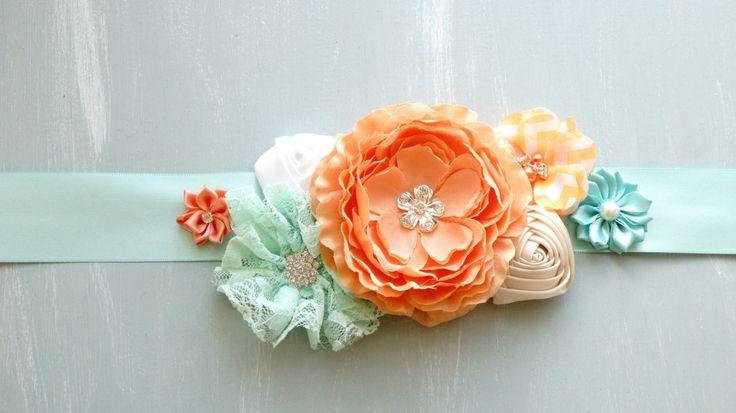 Posie's Pretties. Silk Flower sash, maternity sash, dressup sash, hair sash, baby photo prop. Orange and mint by PosieMeadows on Etsy