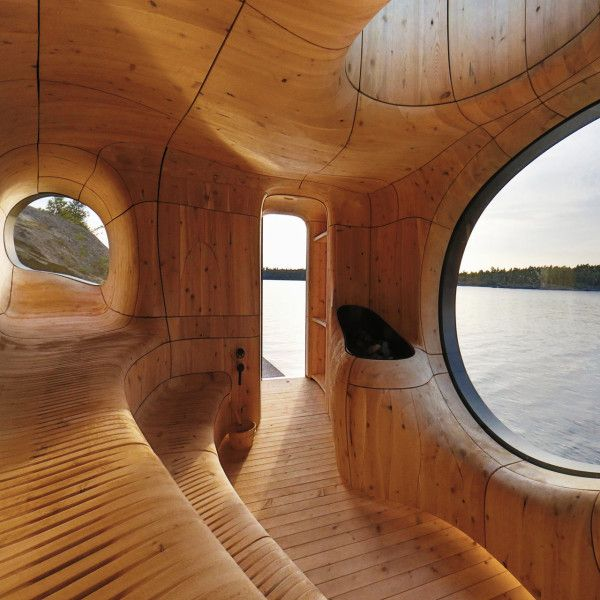 Grotto Sauna by Partisan Projects - Inspiration came directly from the site, an island located in Georgian Bay, Canada. The unique and rugged landscape is a prehistoric geological record, carved by shifting plates and glacial erosion. Photo by Jonathan Friedman