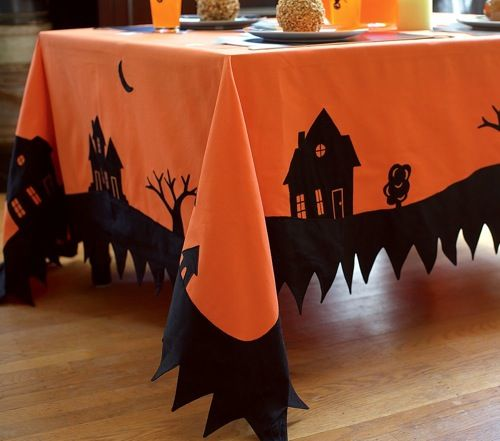 I so need to make tablecloths like this for Halloween!