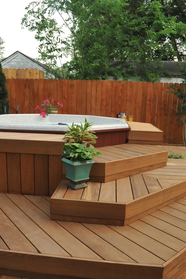 34 best hot tub stuff images on pinterest backyard for Spa deck design