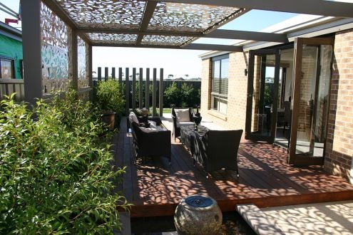 Metricon Homes – pergola roofing panels and sides – note the beautiful shadows.