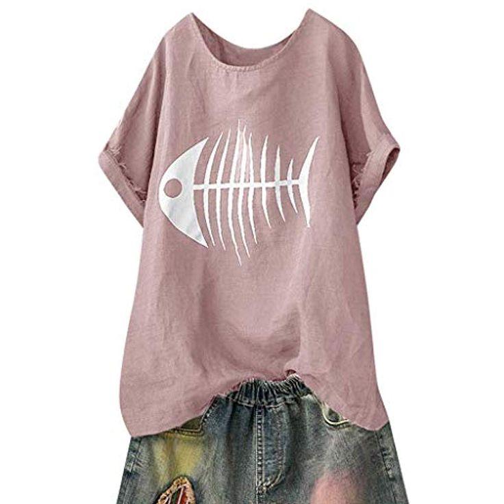 Kanpola Damen T-Shirt Leinen Blusen Oversize Shirt…