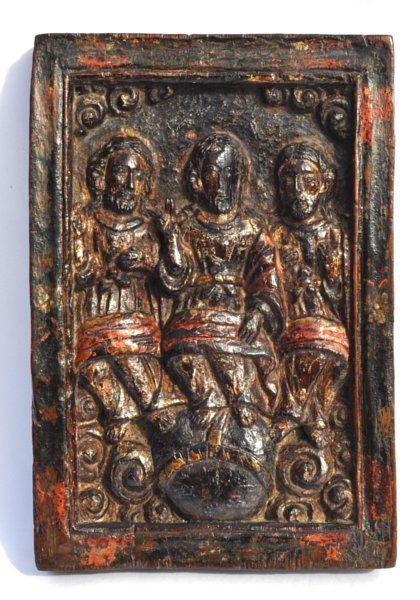 Late medieval or th century spanish walnut panel of the