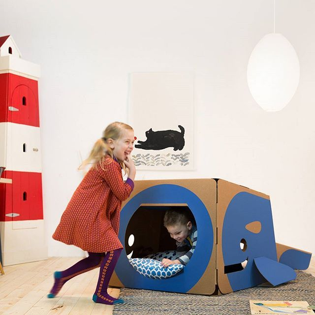 Giant cardboard playhouses by Hulki. Turtle, Whale, and Owl.