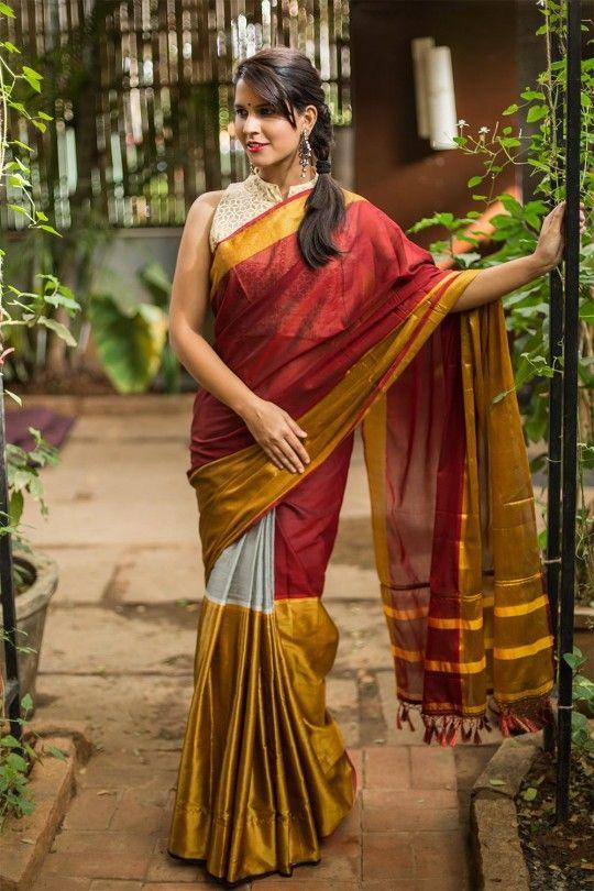 Maroon, grey and gold colour block cotton silk saree