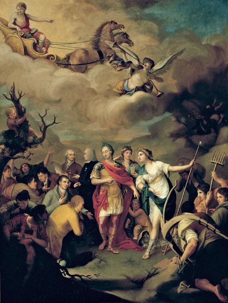 Carlos III entregando las tierras a los colonos de Sierra Morena, 1805, óleo sobre lienzo, 168 x 126 cm, Madrid, Real Academia de Bellas Artes de San Fernando. José Alonso del Rivero.Charles III of Spain.