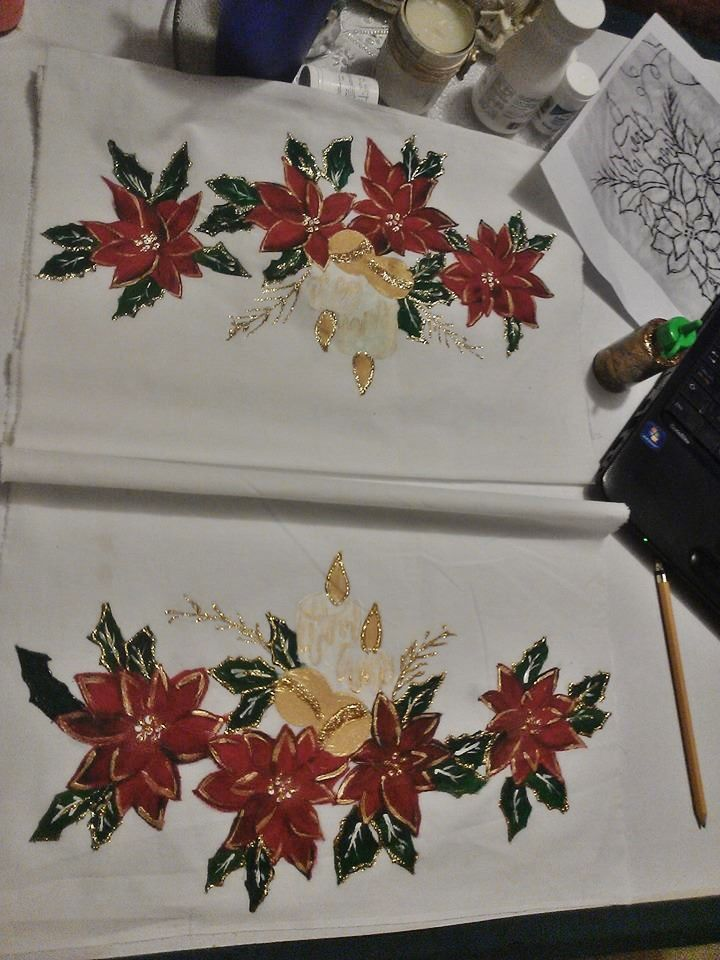 Camino de mesa pintura en tela navidad pinterest mesas - Pintura en tela motivos navidenos ...