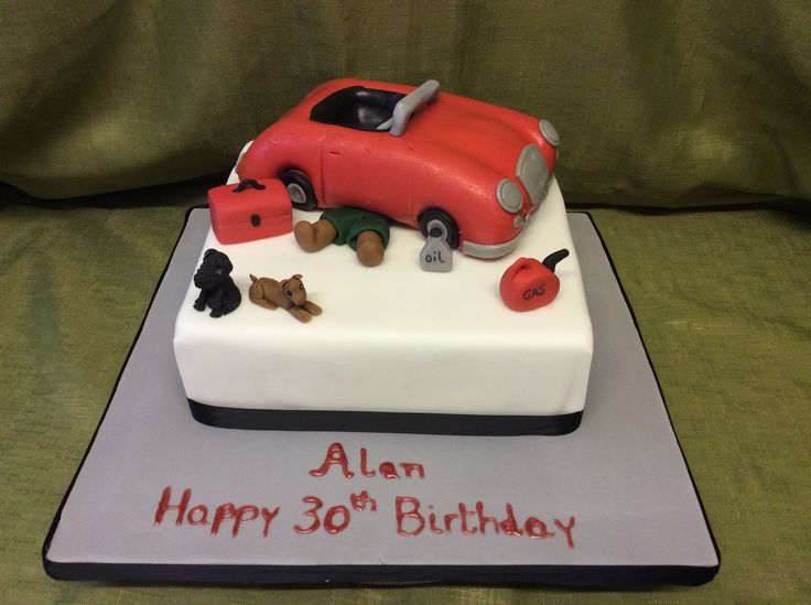 Mechanic Cake in Rich Fruit Cake covered in Marzipan and fondant, car made out of Vanilla sponge then hand carved all items handmade