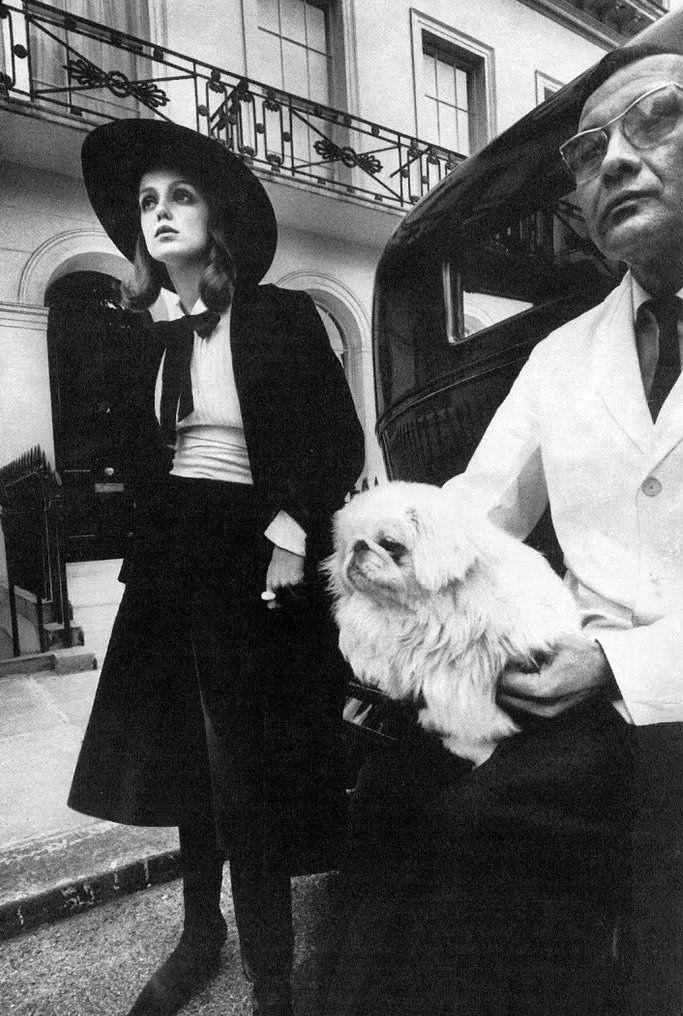 Donna Mitchell in black velvet gaucho-inspired suit, Vogue October 1967