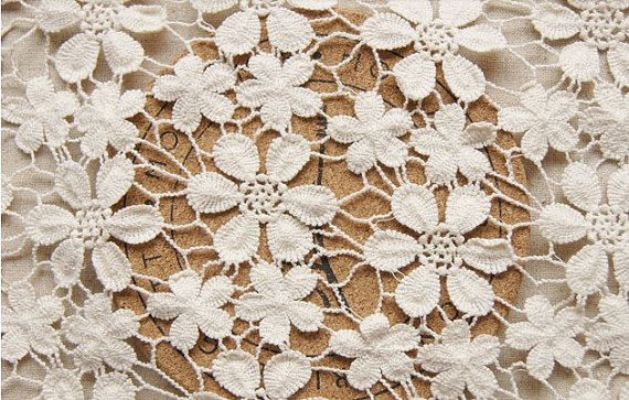 off White Chic Cotton Wedding Dress Lace Fabric, Bridal lace fabric, crocheted lace on Etsy, $35.00- for the train