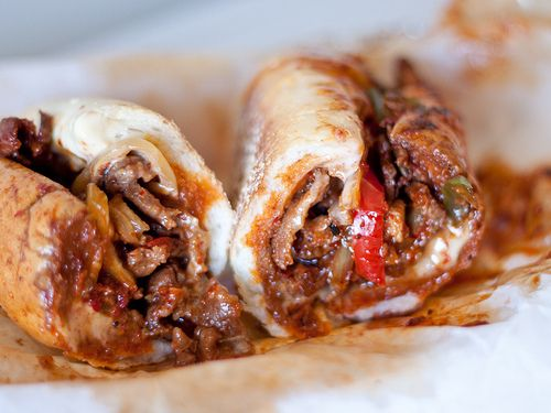 bulgogi steak sandwich-   bbq beef,sauteed peppers and onions,sweet chilli oil-on a hoagie roll