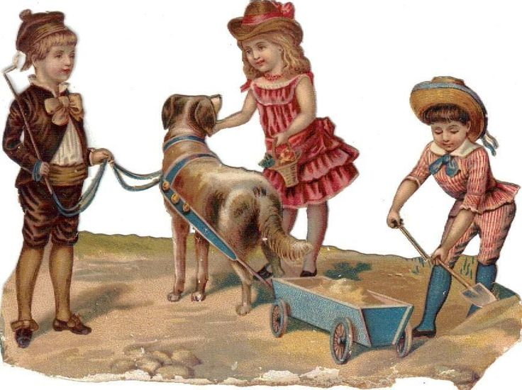 Victorian Die Cut Scrap Kids Dog Wagon c1880