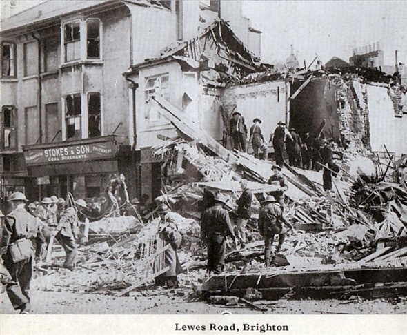 Lewes Road Inn after the bomb in WW2